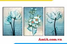 Tranh hoa trang trí ghép bộ 3 tấm in vải canvas AmiA 1849