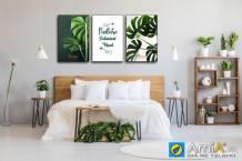Tranh treo tường phòng ngủ bộ canvas lá cây màu xanh AmiA 1856