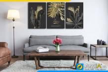 Tranh bộ canvas lá cây màu sắc mới lạ treo tường phòng khách hiện đại AmiA 1857