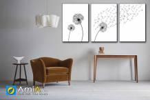 Tranh bộ canvas 3 tấm hoa bồ công anh đẹp AmiA 1860