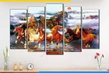 Tranh ngựa chạy trên sông nước 5 bức AmiA 1884