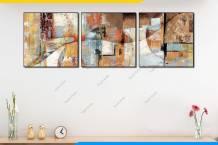 Tranh trừu tượng canvas 3 tấm vuông AmiA 1891