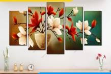 Tranh bình hoa phong thủy 5 bức mộc lan AmiA 1893