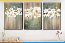 Bộ tranh hoa màu trắng nghệ thuật AmiA 1897