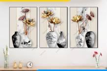 Tranh bình hoa sen giả 3D phong thủy AmiA 1889