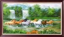 Tranh sơn dầu 8 chú ngựa chạy trong rừng TSD 550