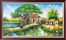 Tranh phong cảnh nông thôn vẽ sơn dầu TSD 551