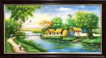 Tranh sơn dầu khổ lớn làng quê yên bình TSD 552