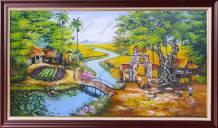 Tranh sơn dầu làng quê nông thôn nghệ thuật TSD 554