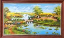Tranh sơn dầu phong cảnh làng quê nghệ thuật TSD 555