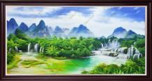 Tranh vẽ sơn dầu toàn cảnh thác nước Bản Giốc TSD 580