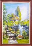 Tranh sơn dầu khổ đứng đẹp ngôi nhà châu âu TSD 566
