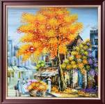 Tranh sơn dầu phố cổ khổ vuông mùa thu TSD 568