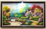 Tranh sơn dầu phong cảnh ngôi nhà trong rừng TSD 577