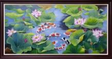 Tranh cá chép trong hồ sen sơn dầu đẹp TSD 585