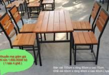 Khuyến mại giảm giá bộ bàn ghế pallet chân sắt