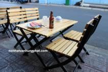 Mẫu bàn ghế xếp chân sắt mặt gỗ BGS7
