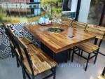 Bộ bàn ghế lẩu nướng khung sắt mặt gỗ