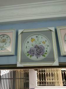 Đóng khung tranh đồng hồ hoa cổ