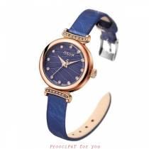 Bán sỉ đồng hồ nữ JULIUS JA-875 dây da (xanh dương)