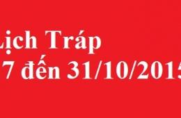 lịch bê tráp 27 đến 31/10/2015