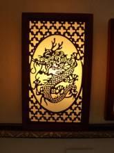 Đèn ốp tường khung gỗ họa tiết rồng 945