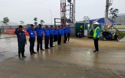 Lực lượng vệ sỹ Trâm Anh trong công tác đảm bảo an toàn lao động của dự án