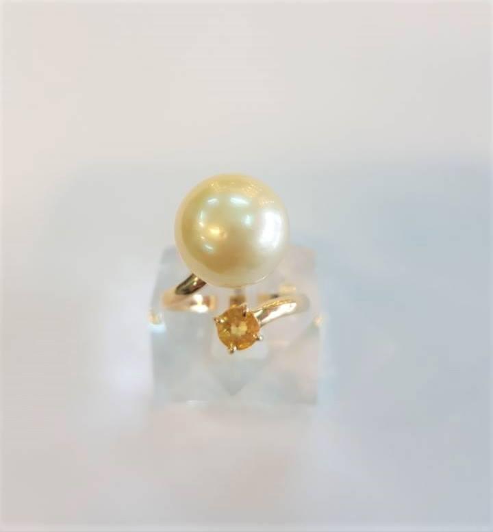 Nhẫn vàng 18k Ngọc Trai Biển+Sapphire