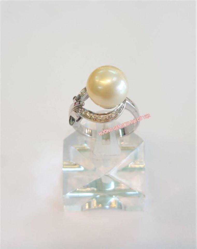Nhẫn vàng trắng 14k Ngọc Trai South Sea
