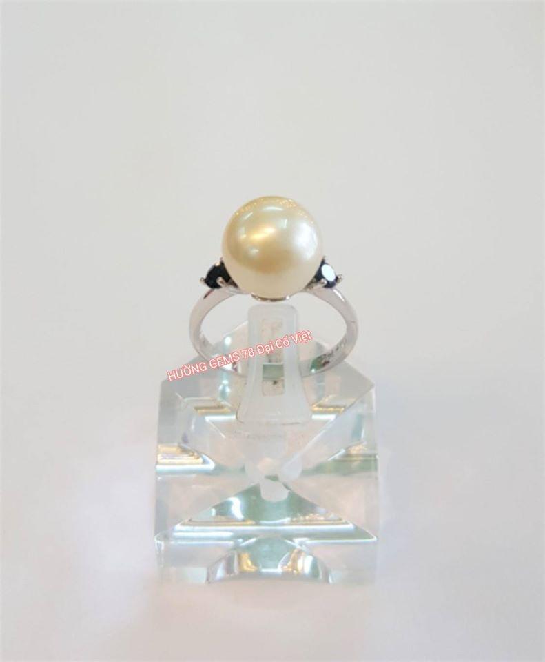 Nhẫn vàng trắng 14k Ngọc Trai Biển