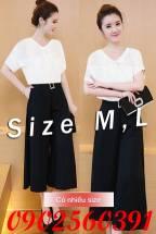 Set nguyên bộ áo phối ren quần lửng ống suông (ko kèm belt)