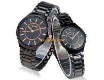 Đồng hồ cặp dây thép đen (Có bán lẻ)