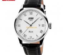 SKMEI - Đồng hồ nữ dây da chống nước (dây đen mặt trắng)