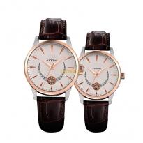 Đồng hồ cặp sinobi dây da (dây nâu mặt trắng) - SI9