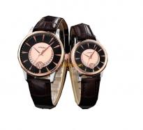 Đồng hồ cặp sinobi dây da (dây nâu mặt đen) - SI8520