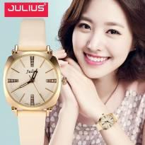 Đồng hồ nữ JULIUS JA-388 dây da (trằng kem)