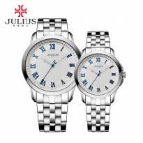 Đồng hồ cặp JULIUS JA-872 dây thép (trằng bạc)