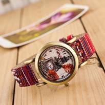 Đồng hồ nữ thời trang dây da phối vải họa tiết