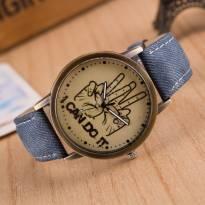 Đồng hồ thời trang dây da vân vải (xanh dương)