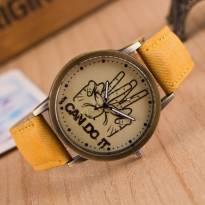 Đồng hồ thời trang dây da vân vải (vàng)
