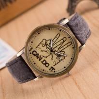 Đồng hồ thời trang dây da vân vải (xanh)