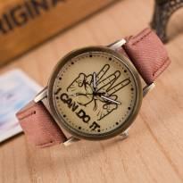 Đồng hồ thời trang dây da vân vải (nâu)