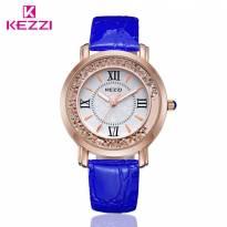Đồng hồ nữ KEZZI dây da (xanh dương)