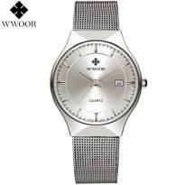 Đồng hồ nam WWOOR dây thép (mặt trắng)