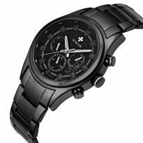 Đồng hồ nam WWOOR 6 kim day thép (mặt đen dây đen)