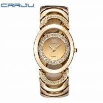 Đồng hồ nữ thời trang CRRJU dây thép (vàng)