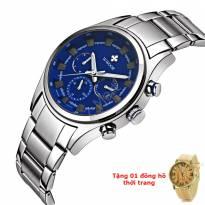 Đồng hồ nam 6 kim WWOOR dây thép (mặt xanh)