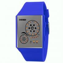 Đồng hồ Led SKMEI unisex dây PU (xanh dương)
