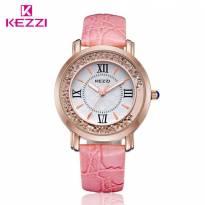 Đồng hồ nữ Kezzi dây da (hồng)