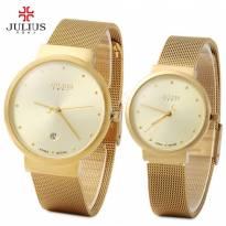 Đồng hồ cặp JULIUS JA-426 dây thép (vàng)